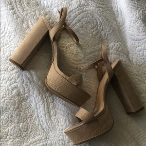 Tan Faux Suede Chunky Heel Strappy Shoes